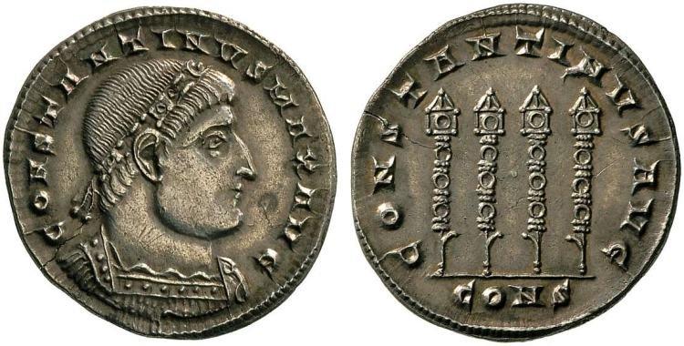 Император Константин I (306-337). Аверс: CONSTANTINVS MAX AVG. Император в диадеме и кирасе. Реверс: CONSTANTINVS AVG. Четыре норматива. CONS (монетный двор Константинополя). Вес монеты 4,19 г.