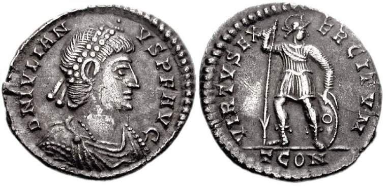 Легкий милиарисий. Юлиан II (361-363). Аверс: D N IVLIAN-VS PF AVG император в профиль. Он изображен в жемчужной диадеме. Реверс: VIRTVS EXERCITVM. Солдат смотрит вправо. В правой руке копье, в левой щит