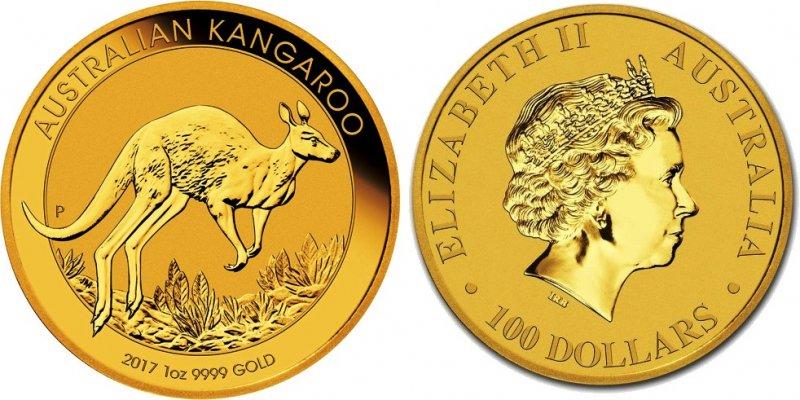 Золотая инвестиционная монета Австралии Кенгуру