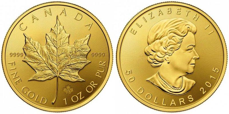 Золотая монета Кленовый лист, Канада, 2012 год