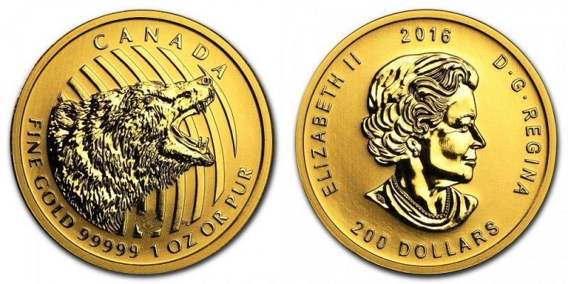 Золотая монета Канады Ревущий Гризли, 2016 год