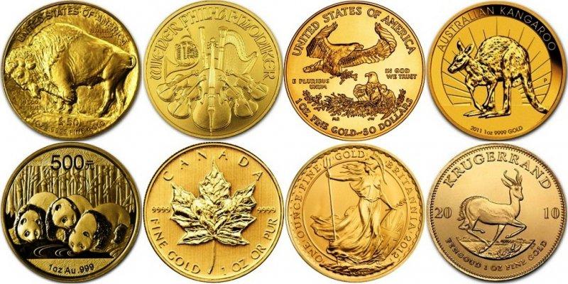 Золотые инвестиционные монеты разных стран
