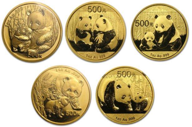 Китайская «золотая панда» разных лет выпуска