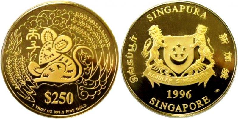 Золотая памятная монета Сингапура Год мыши