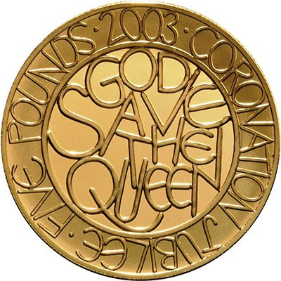 Юбилейная золотая монета Великобритании 50-я Годовщина коронации Елизаветы II, 2003 год