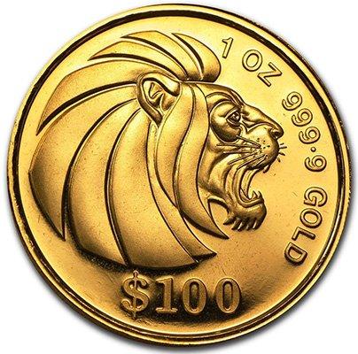 Золотая монета Сингапура Лев, качество чеканки  анциркулейтед