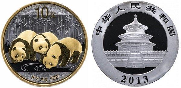10 юаней «Панда». 2013 год. Серебро 999-й пробы, позолота, 31 г