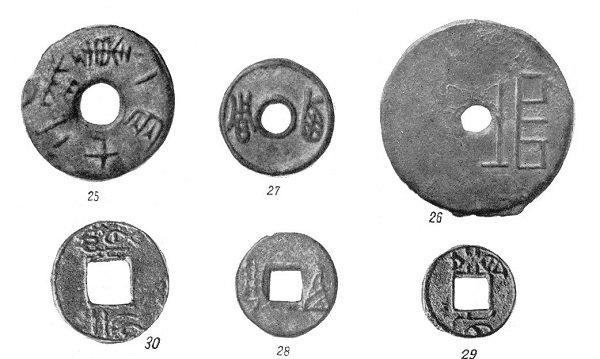 Древнейшие китайские монеты с иероглифами. VIII-III в. до н.э. Рисунок из книги: Быков А.А. Монеты Китая. - Ленинград, 1969