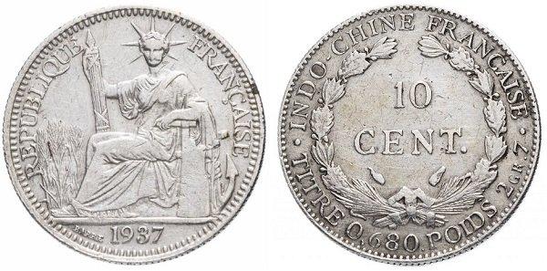 10 сантимов. Французский Индокитай. 1937 год