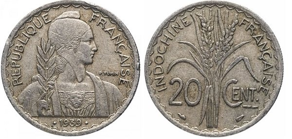 20 сантимов. Французский Индокитай. 1939 год. Медно-никелевый сплав