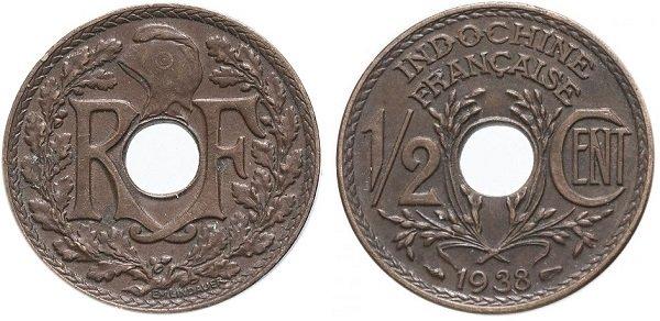 1\2 сантима. Французский Индокитай. 1938 год