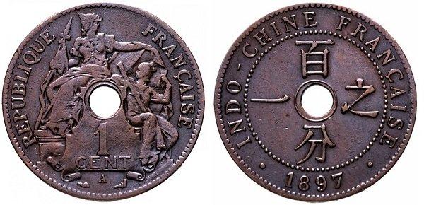 1 сантим. Французский Индокитай. 1897 год