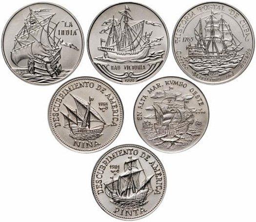Куба, набор из 6 монет 1 песо 1981-1994 гг.