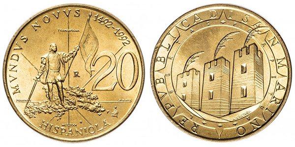 Сан-Марино, 20 лир 1992 года «500 лет открытию Америки»