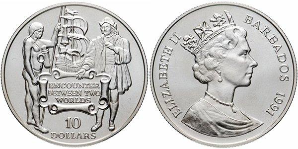Барбадос, 10 долларов 1991 года «Открытие Америки»