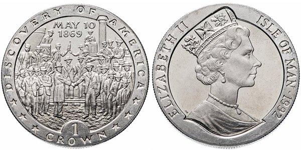 Остров Мэн 1 крона 1992, серия «Открытие Америки», «Открытие первой железной дороги — 10 мая 1869 года»