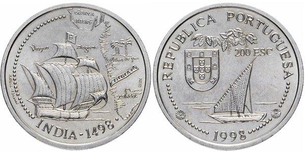 Португалия 200 эскудо 1998 «Путешествие Васко да Гамы в Индию 1498»