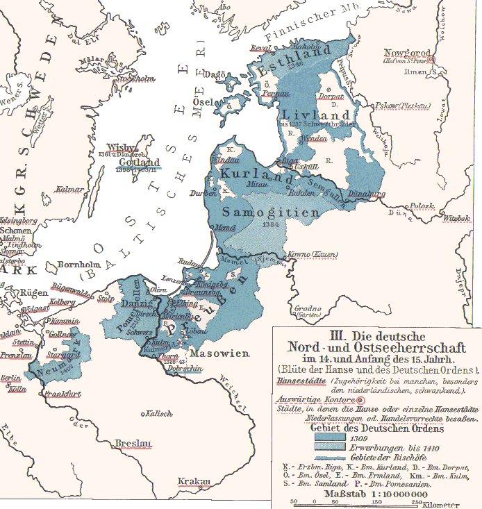 Карта Тевтонского Ордена в период расцвета