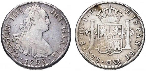 8 реалов («испанский доллар») 1798 года, Новая Испания, монетный двор в Мехико, серебро 27 г