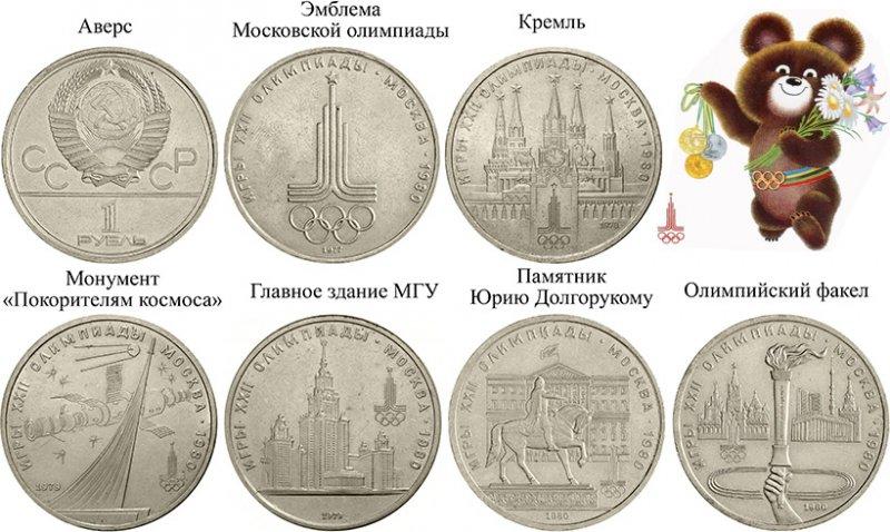 Рублёвые медно-никелевые монеты, выпущенные к московской Олимпиаде