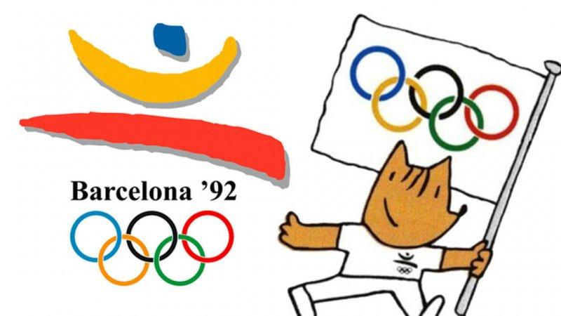 Официальная эмблема и талисман Олимпиады в Барселоне – щенок Коби