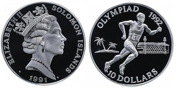 10 долларов. Соломоновы Острова. 1991 год. Серебро