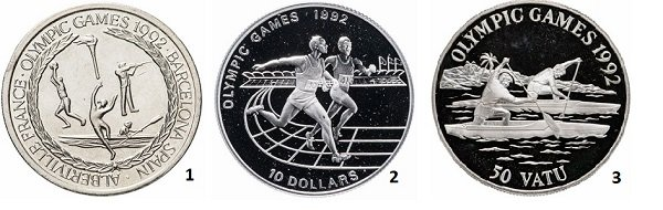 1 - 5 крон. Тёркс и Кайкос. 1992 год. мельхиор; 2 – 10 долларов. Ниуэ. 1991 год. Серебро; 3 – 50 вату. Вануату. 1992 год. Серебро