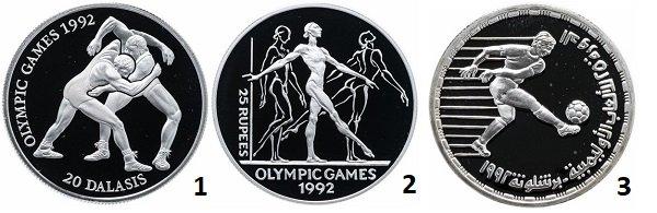 1 – 20 даласи. Гамбия. 1993 год; 2 – 25 рупий. Сейшелы. 1993 год; 3 - 5 фунтов. Египет. 1992 год