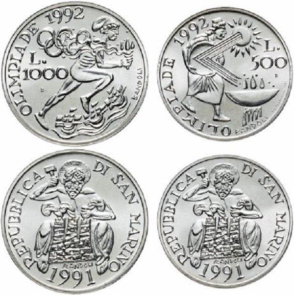 Набор из памятных монет 500 и 1000 лир. Республика Сан-Марино. 1991 год