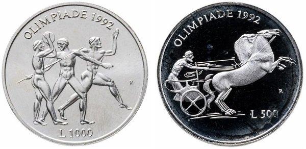 Набор из памятных монет 500 и 1000 лир. Республика Сан-Марино. 1992 год