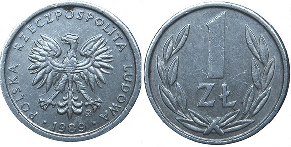 1 злотый 1989-1990 гг.