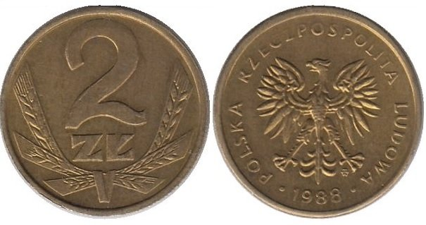 2 злотых 1986-1988 гг.