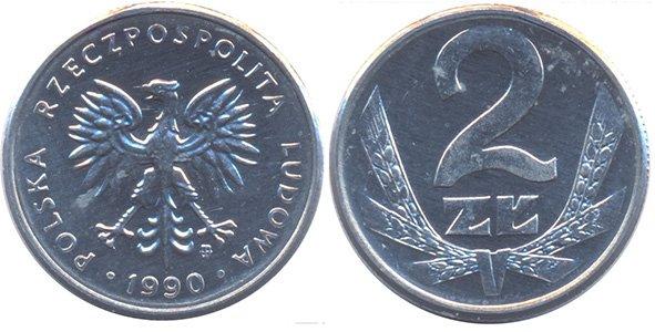 2 злотых 1989-1990 гг.