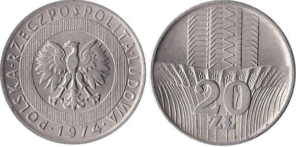 20 злотых 1973-1976 гг.