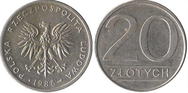 20 злотых 1984-1988 гг.