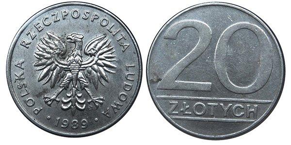 20 злотых 1989-1990 гг.