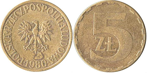 5 злотых 1975-1985 гг.