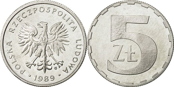 5 злотых 1989-1990 гг.