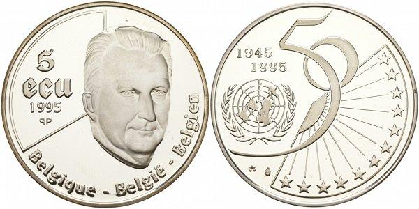 5 экю. Бельгия. 1995 год. Серебро. 22,85 г