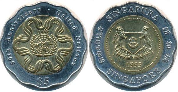 5 долларов. Сингапур. 1995 год. Биметалл