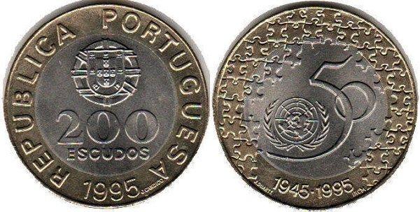 200 эскудо. Португалия. 1995 год. Биметалл