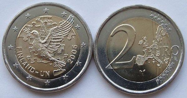 2 евро. Финляндия. 2005 год. Биметалл. 60 лет ООН, 50 лет членству Финляндии в ООН