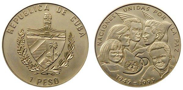 1 песо. Куба. 1995 год. Мельхиор