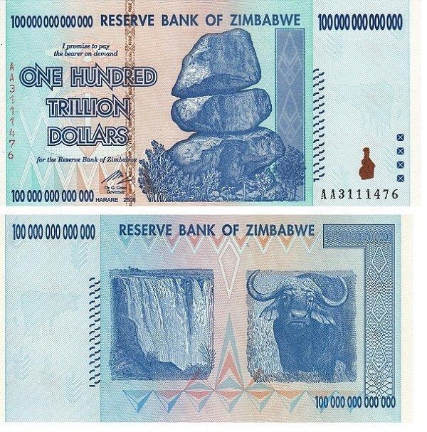 100 триллионов зимбабвийских долларов. 2008 год