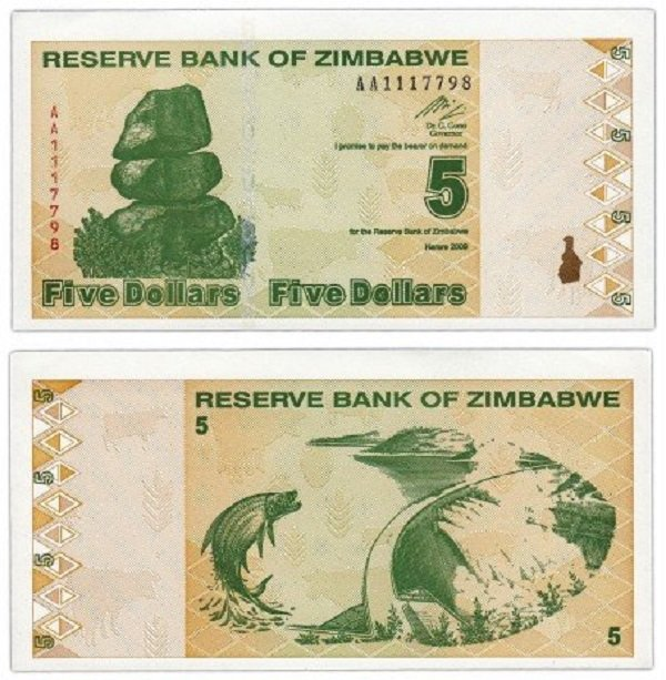 5 долларов. «Четвертый доллар». Зимбабве. 2009 год