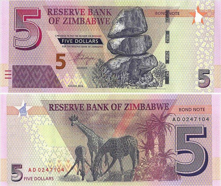 5 долларов. «Bond note». Зимбабве. 2016 год