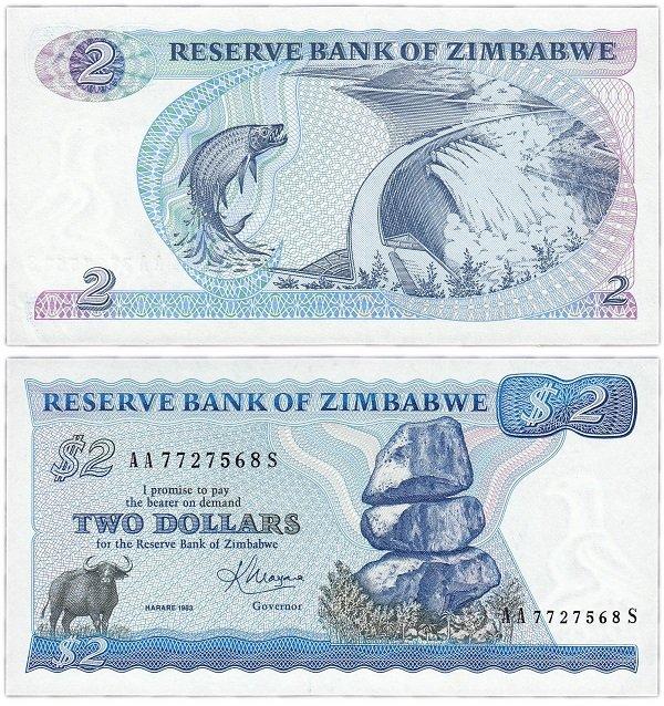 2 доллара первой серии. Зимбабве. 1983 год