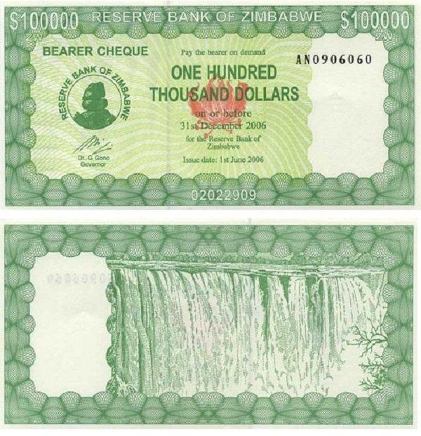 100 тысяч долларов. Чек на предъявителя (Beares check). Зимбабве. 2006 год