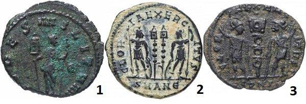 Вексиллумы на римских монетах: 1 – богиня Фидес (Верность) держит вексиллумы в обеих руках, по кругу надпись – «верность войска». Антониан императора Квинтилла Августа. Медь. 270 год; 2 – два вексиллума между двумя вооруженными солдатами. Нуммий императора Константина II. Медь. 332 год; 3 – вексиллум между двумя солдатами, вооружёнными копьями и мечами. Фоллис императора Константа. Медь. 333-350 гг.