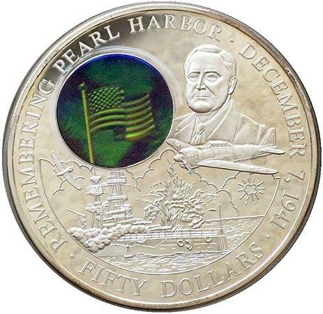 Флаг США на монете 50 долларов 2001 год. Либерия. «60 лет атаке японской авиации на американскую базу в Перл-Харборе». Серебро, 222 г.
